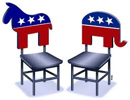 Debate - 2 chairs with Donkey and Elephant logos