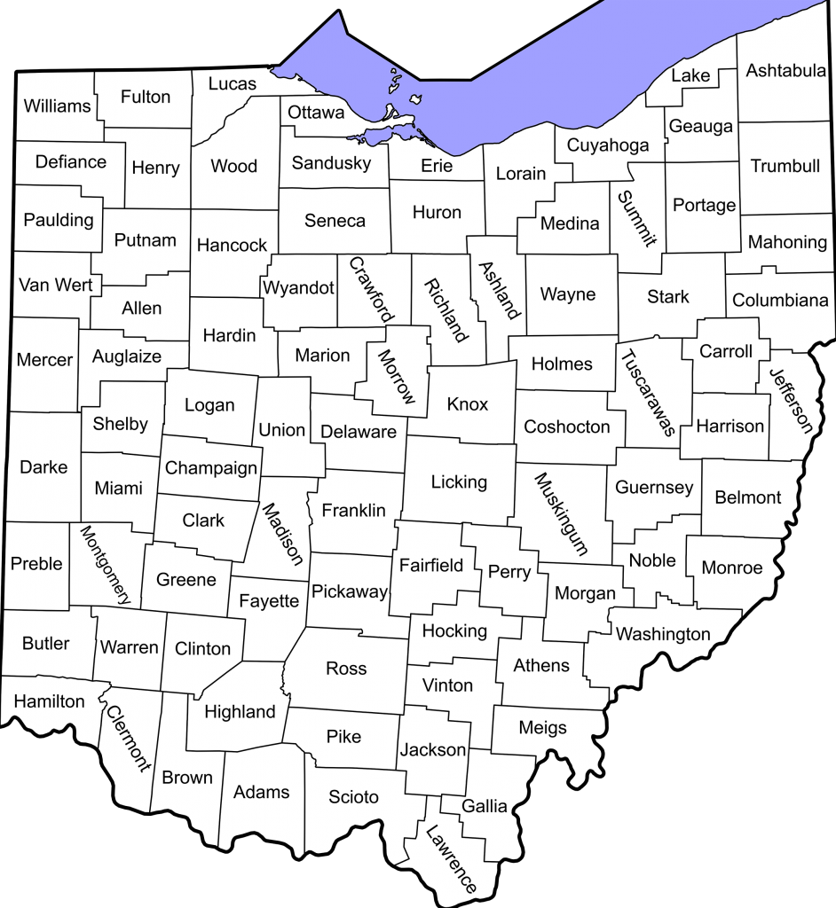 Ohio Counties Labeled - White
